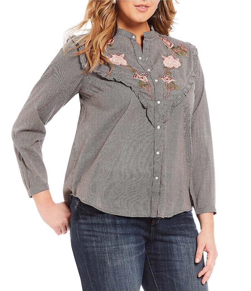 Lucky Brand Plus Floral Embroidered Western Shirt