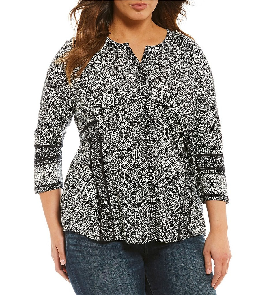 Lucky Brand Plus Geo Print Button-Up Top