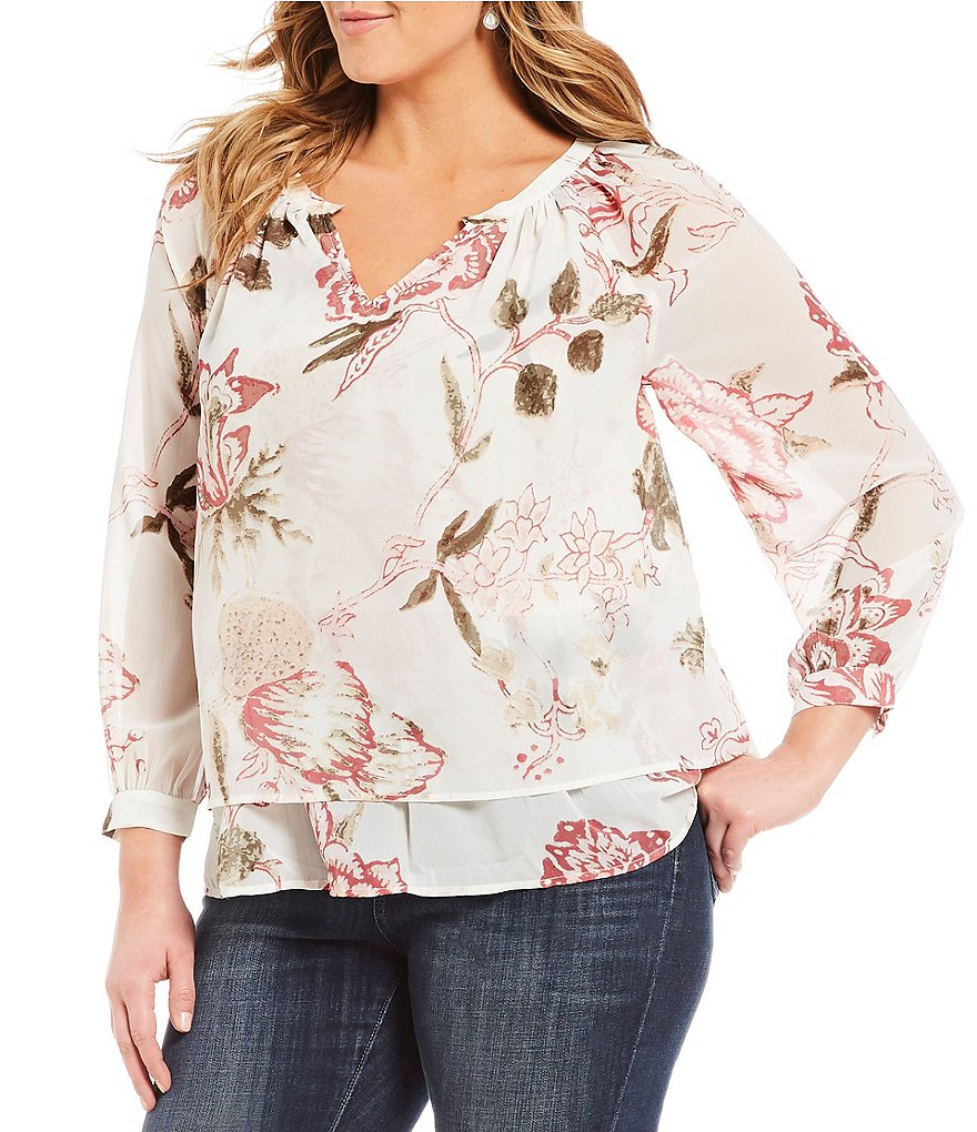 Lucky Brand Plus Jenna Long Sleeve Floral Print Peasant Top