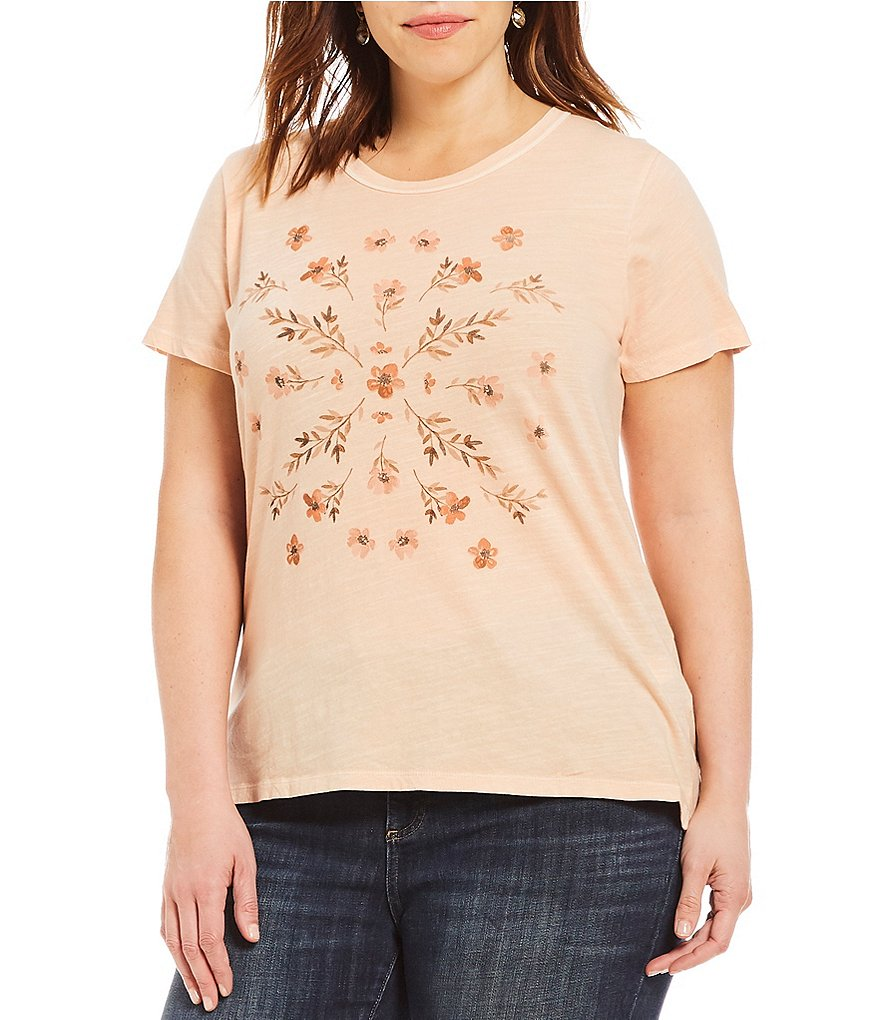 Lucky Brand Plus Size Knit Graphic Stamp Flowers Top