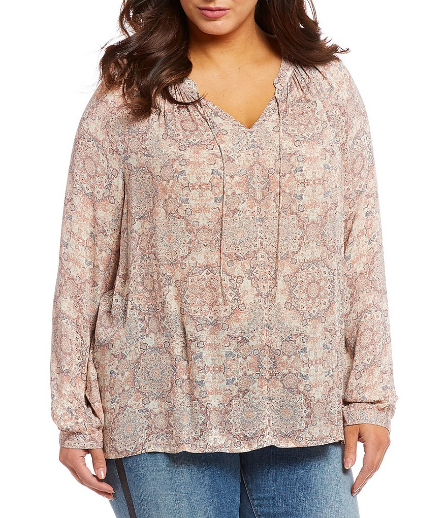Lucky Brand Plus Size Long Sleeve Printed Hi-Low Peasant Top