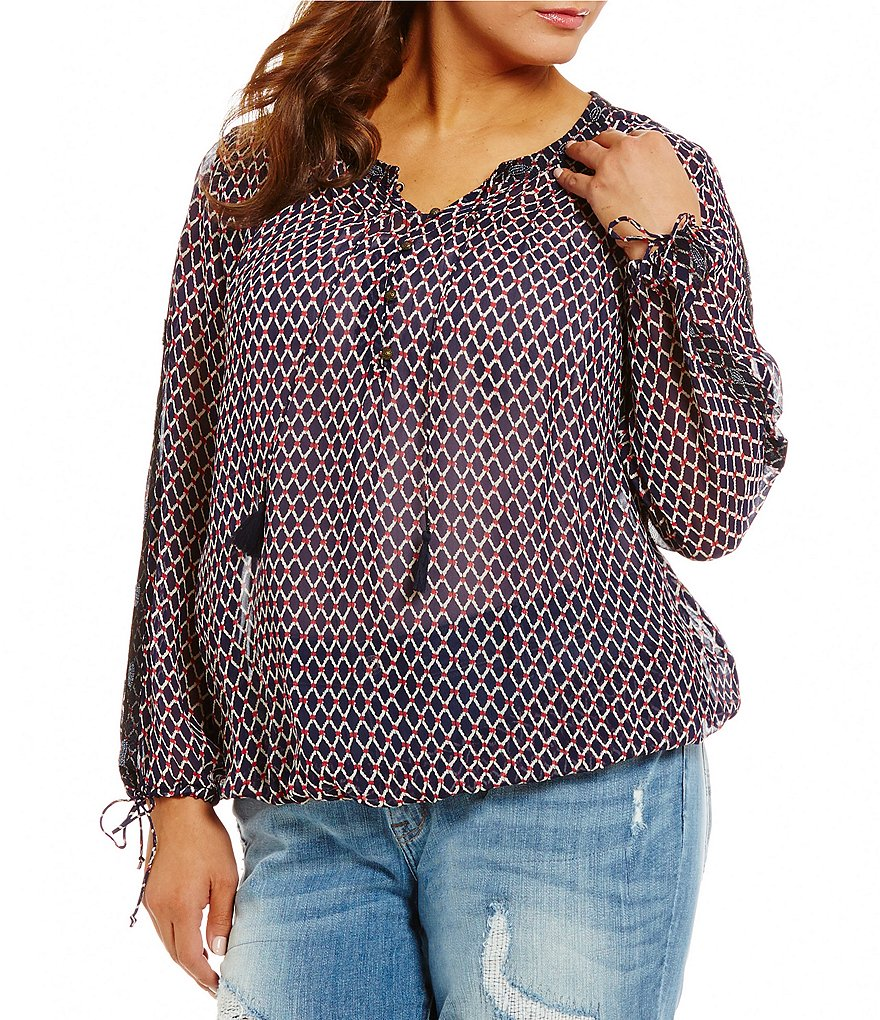 Lucky Brand Plus Split V-Neck Beaded Lurex Blouse
