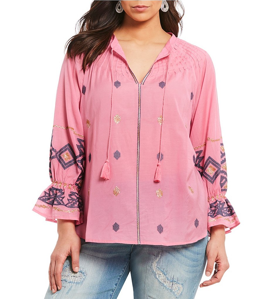 Lucky Brand Plus Tassel Tie-Neck Embroidered Peasant Top