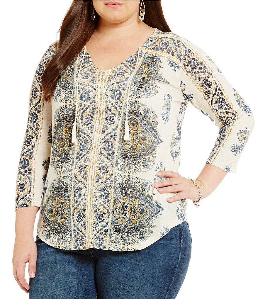 Lucky Brand Plus V-Neck 3/4 Sleeve Tassel Tie Printed Top