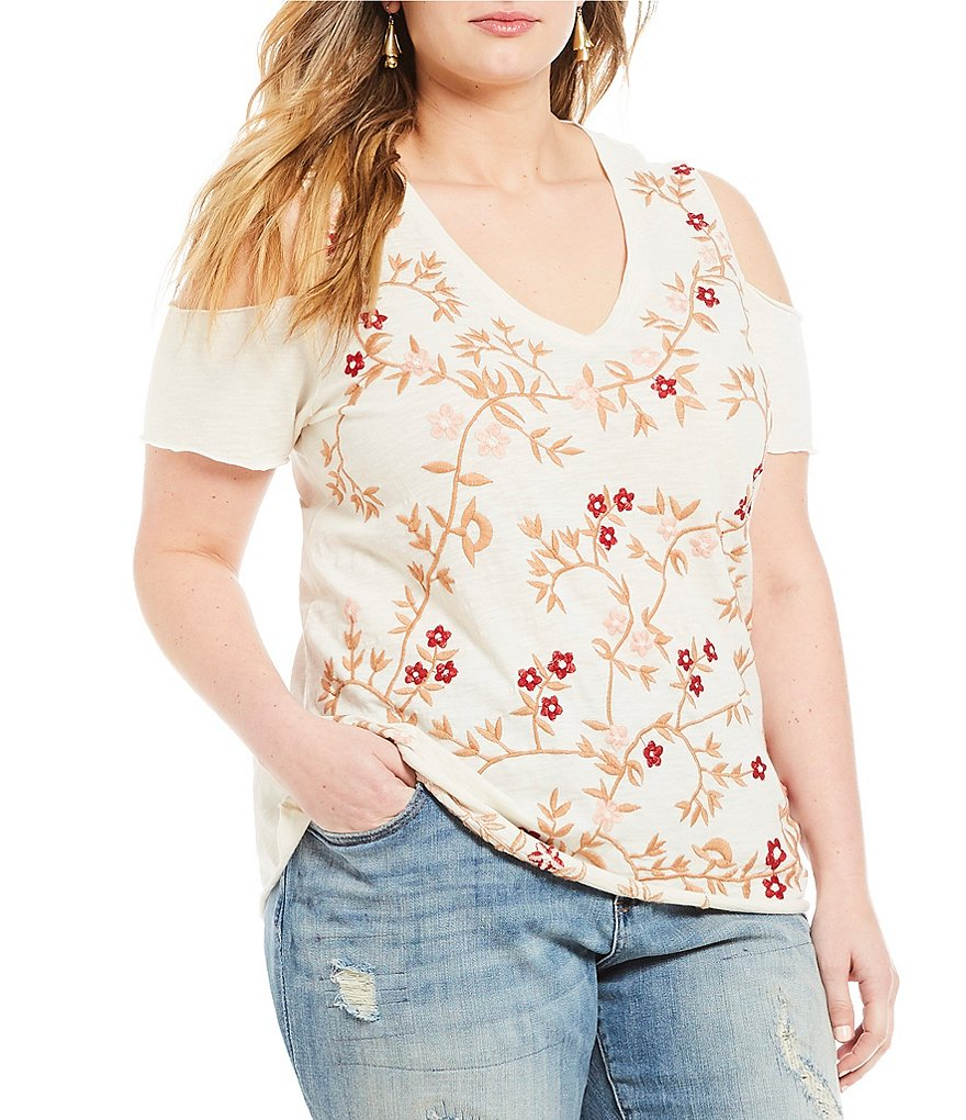 Lucky Brand Plus V-Neck Cold-Shoulder Embroidered Tee