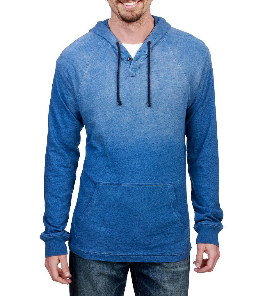 Lucky Brand Popover Indigo Washed Hoodie