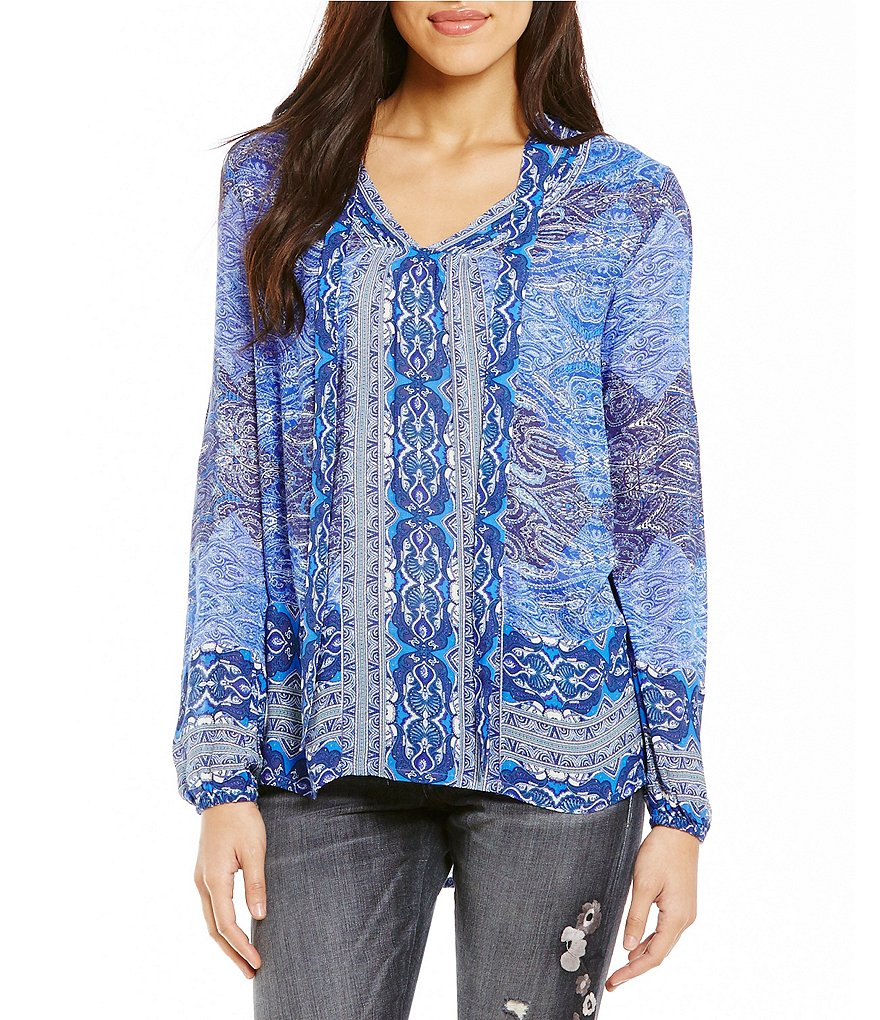 Lucky Brand Printed Long Sleeve Self-Tie V-Cutout Neckline
