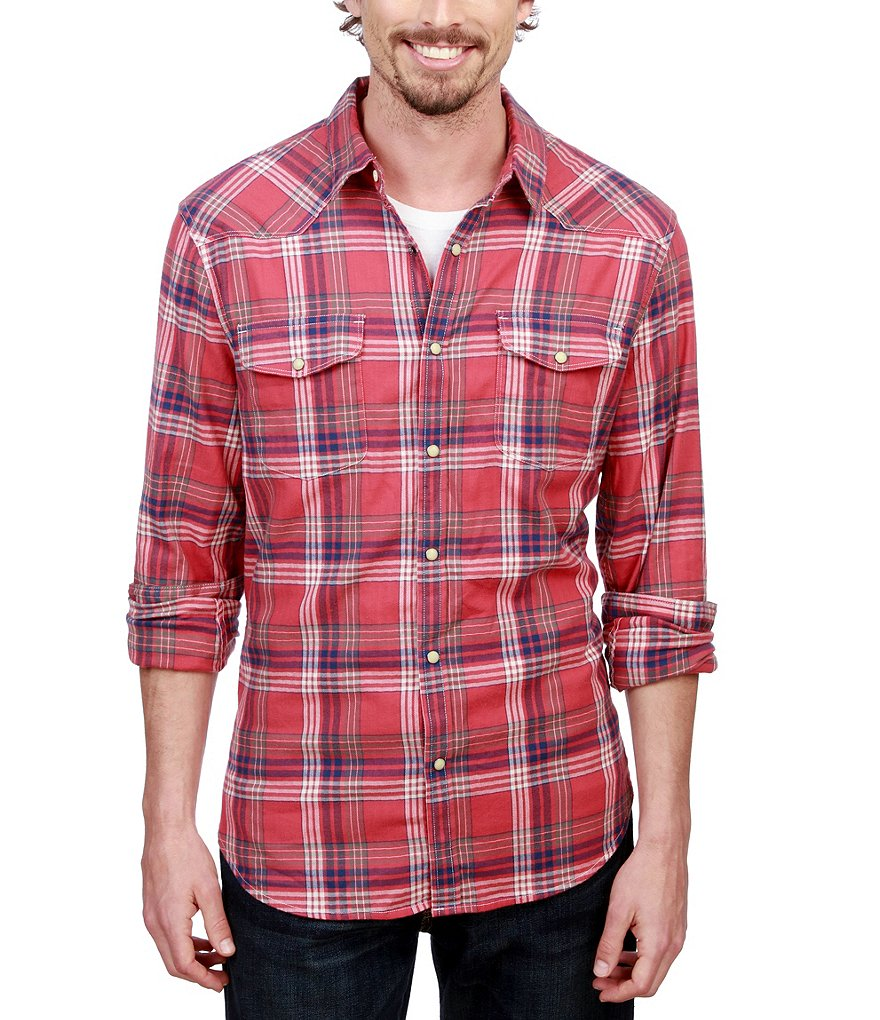Lucky Brand Saturday Stretch Sante Fe Western Windowpane Plaid Shirt