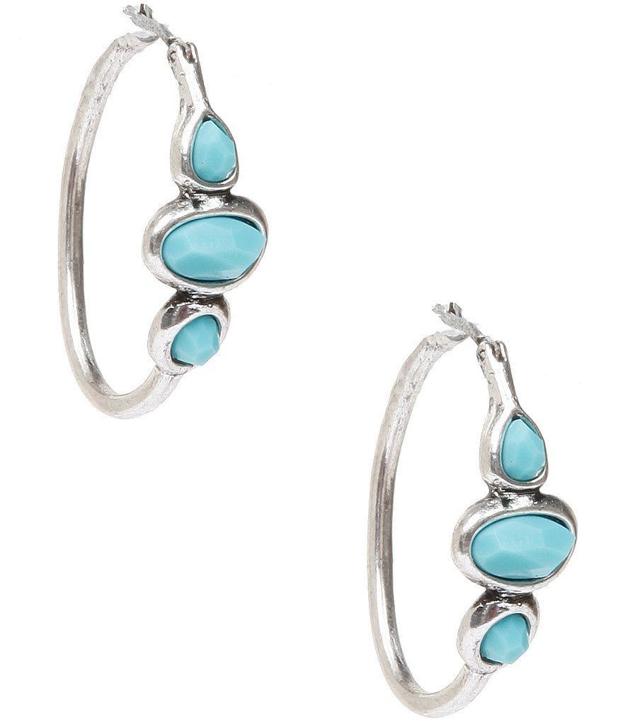 Lucky Brand Silver & Turquoise Hoop Earrings