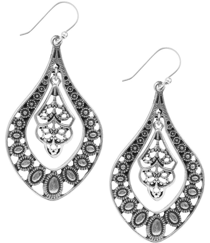 Lucky Brand Silver Filigree Oblong Drop Statement Earrings