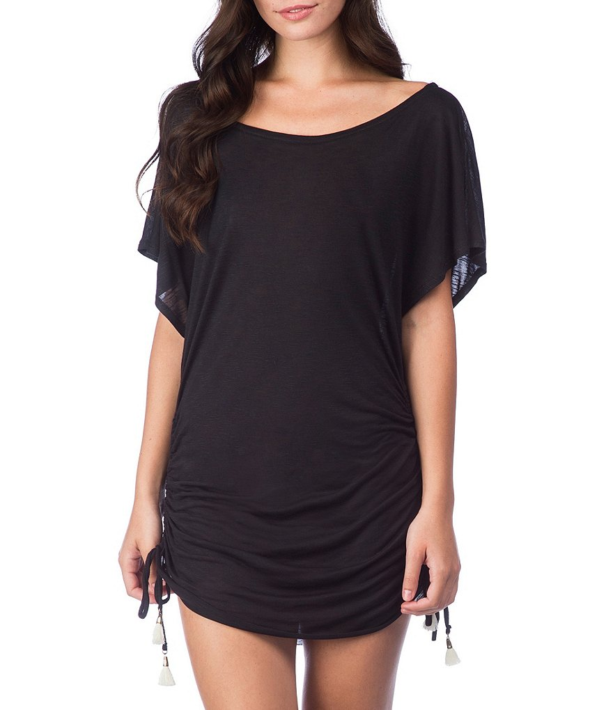 Lucky Brand Solid Attitude Side Shirred Tunic Cover-up