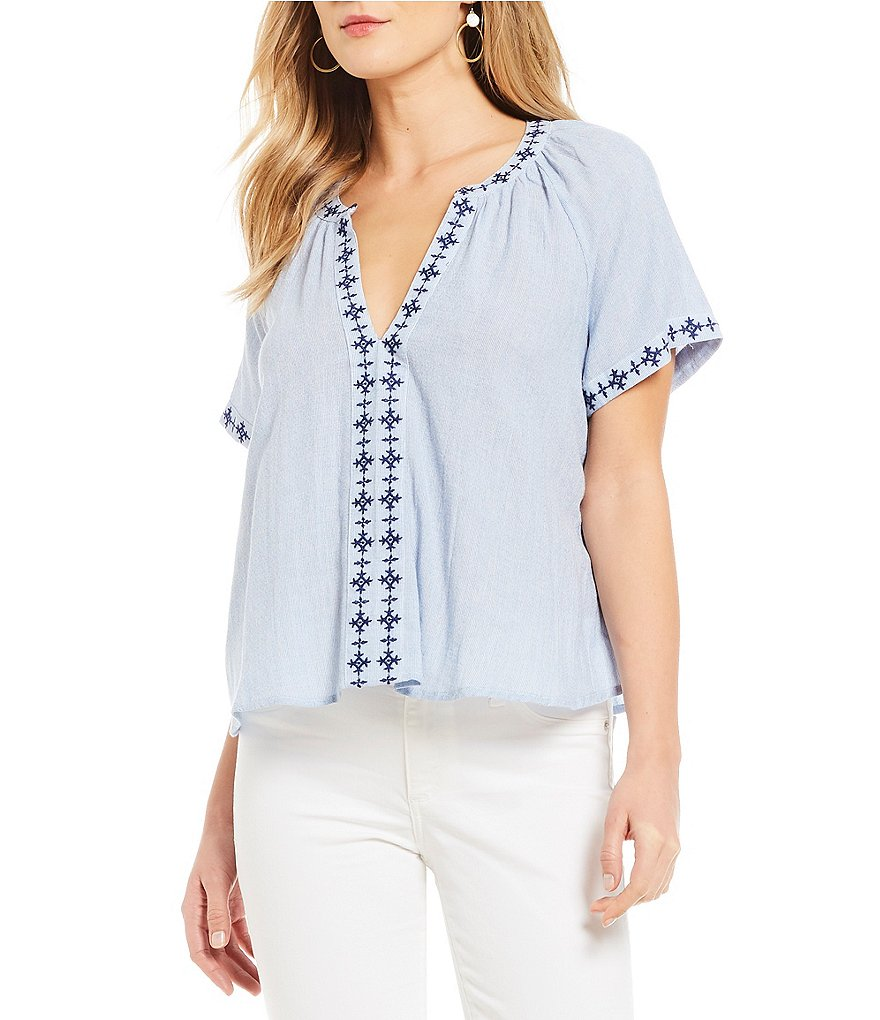 Lucky Brand Split V-Neck Embroidered Trim Short Sleeve Top