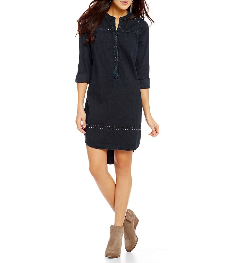 Lucky Brand Studded Denim Hi-Low Shirt Dress