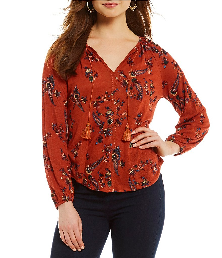Lucky Brand Tassel Tie-Neck Floral Print Peasant Top