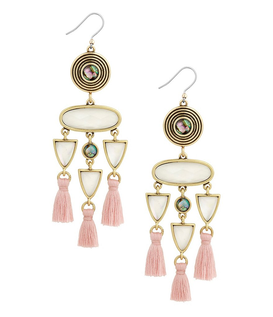 Lucky Brand Tasseled Statement Drop Earrings