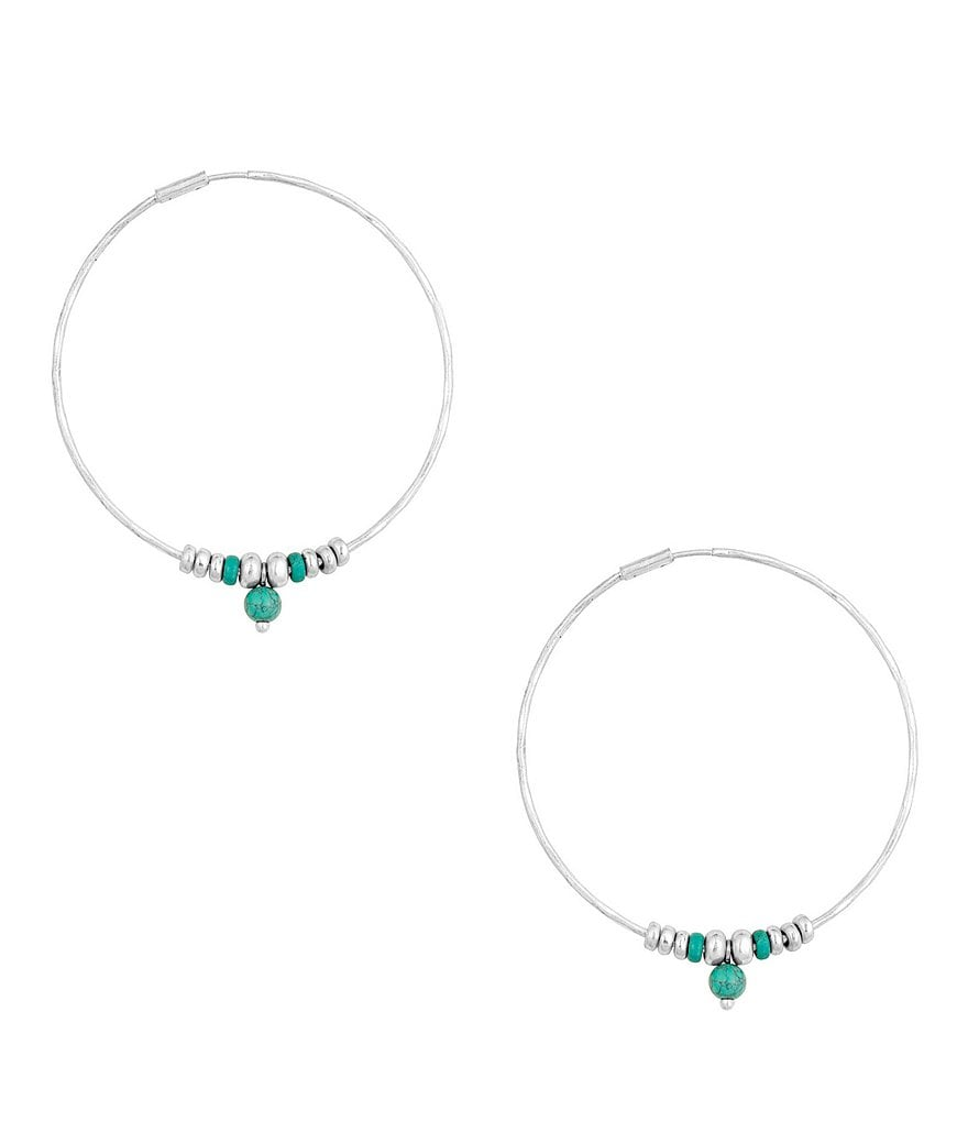 Lucky Brand Turquoise Drop Hoop Earrings