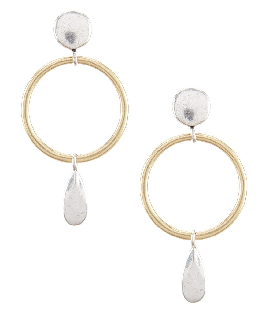 Lucky Brand Open Circle Drop Statement Earrings