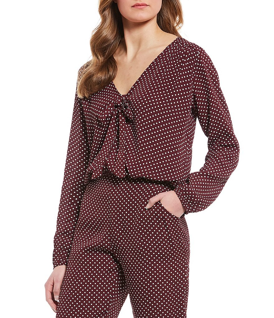 Lucy Love St. Germain Mini-Dot Bow Tie Top