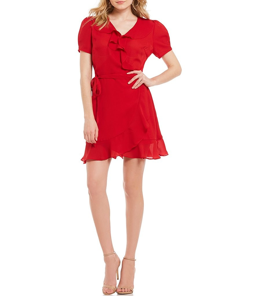 Lucy Paris She's A Flirt Ruffle Faux Wrap Dress