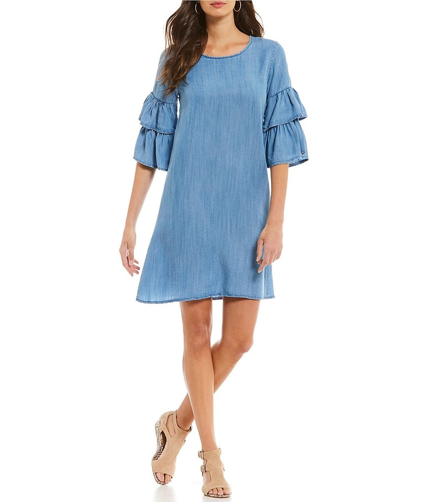 M Made in Italy Ruffled Bell Sleeve Tencel Dress