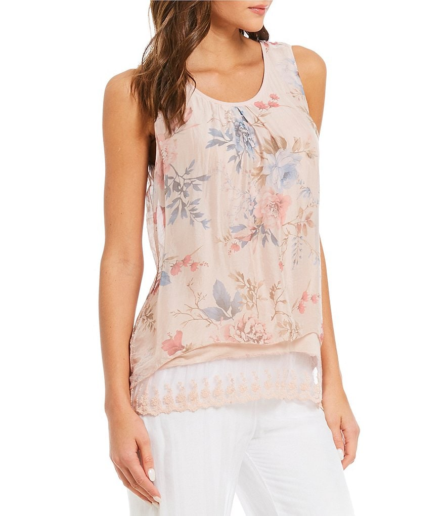 M Made in Italy Lace Hem Floral Print Tank