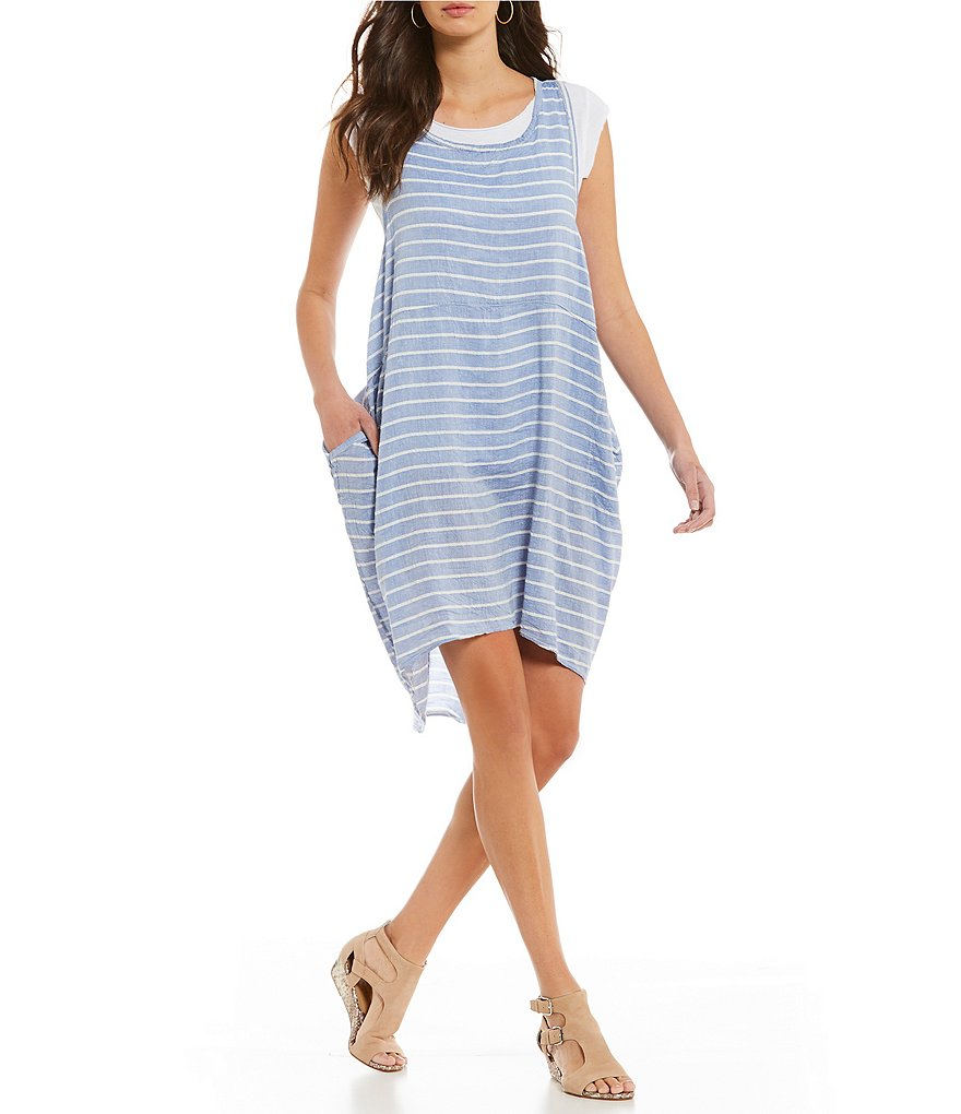 M Made in Italy Linen Striped Dress