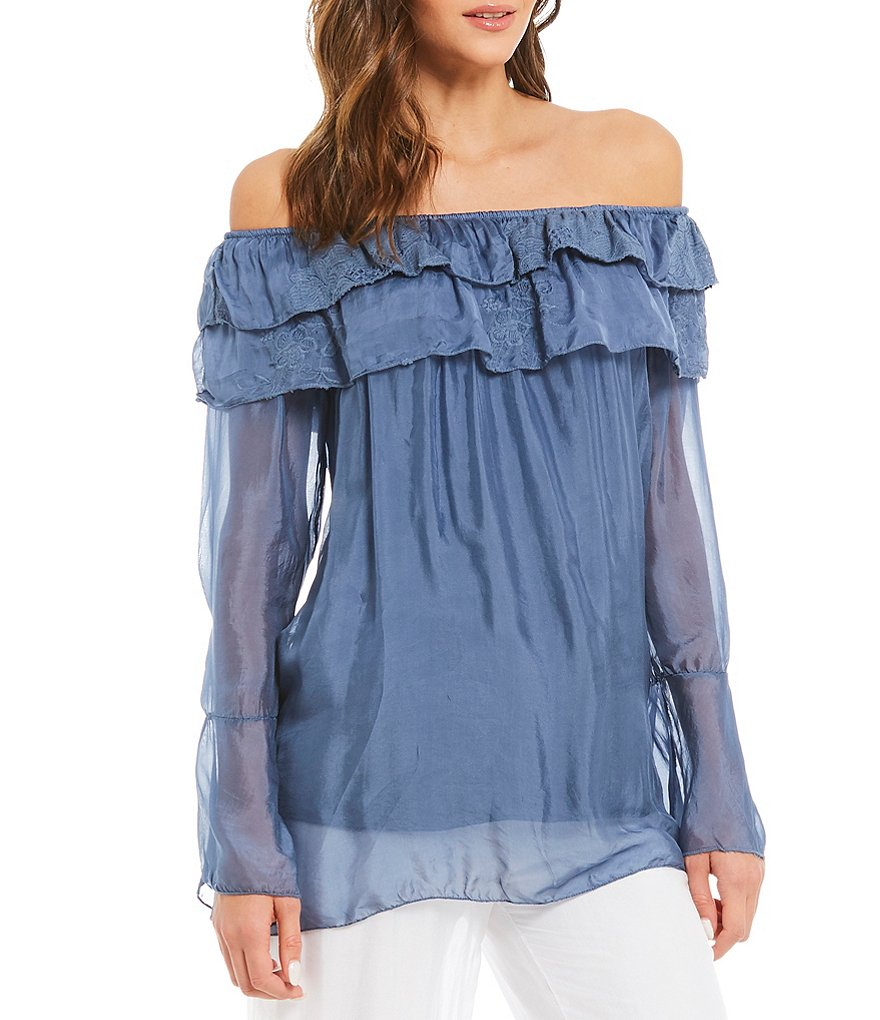 M Made in Italy Off-The-Shoulder Bell Sleeve Ruffle Peasant Blouse