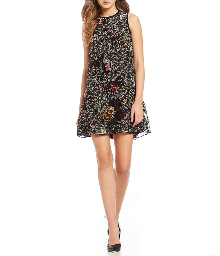 M.S.S.P. Floral Velvet Burnout Shift Dress