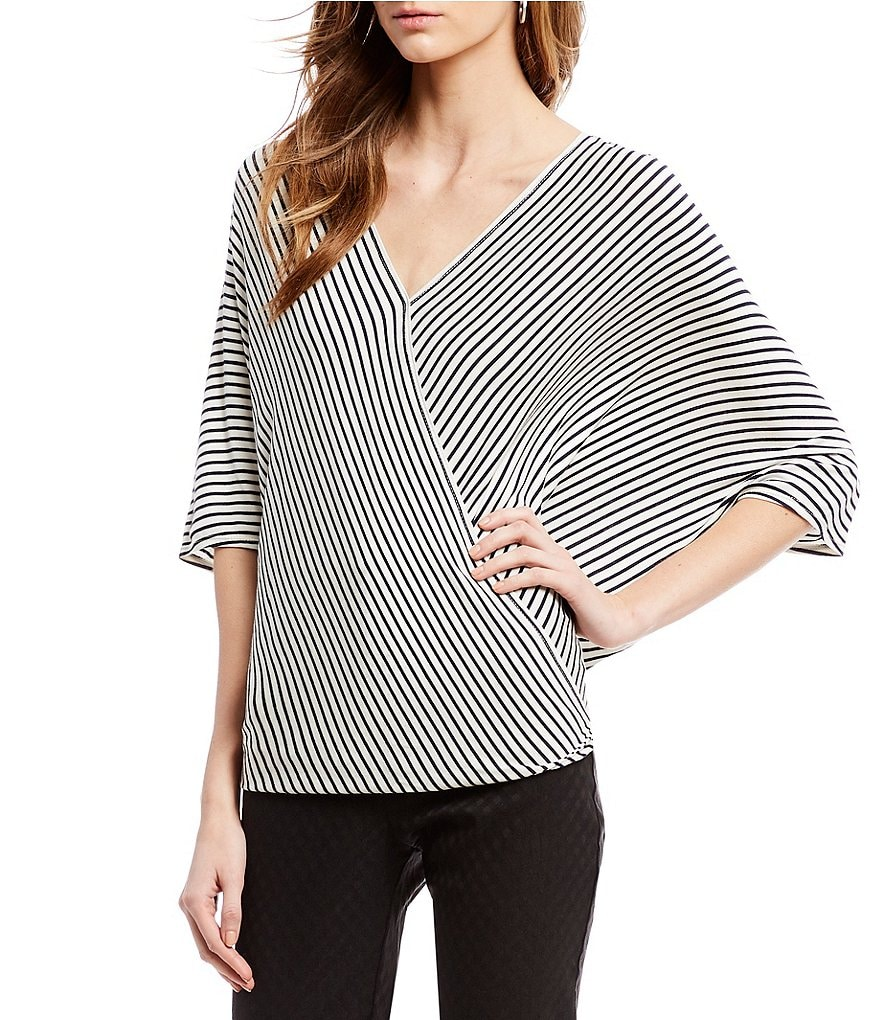 M.S.S.P. Knit Jersey Striped Dolman Sleeve Wrap Top