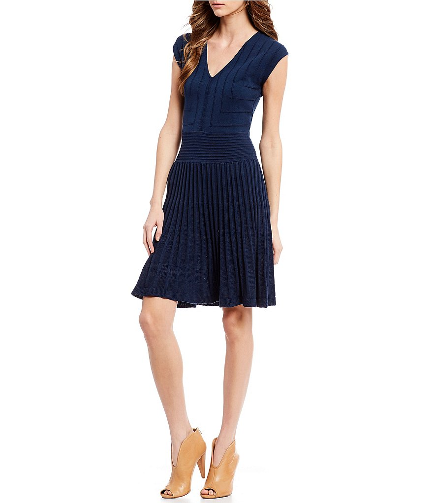 M.S.S.P. Pleated Ottoman Knit Dress
