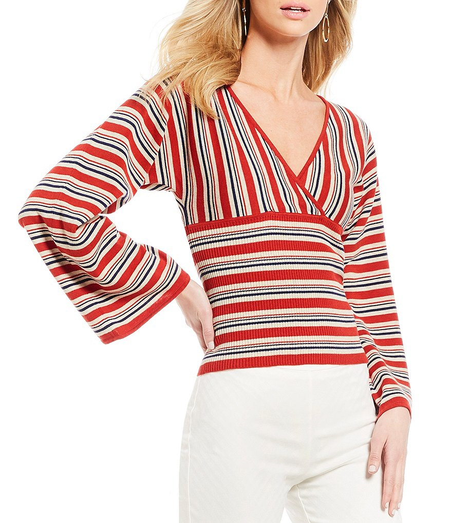 M.S.S.P. Striped Surplice V-Neck Flare Sleeve Knit Top