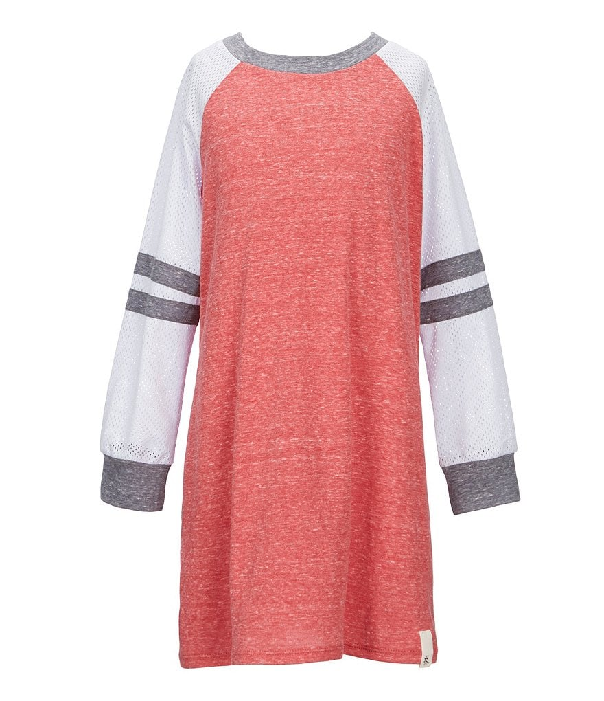 Maddie Big Girls 7-16 Mesh Long-Sleeve Jersey Dress