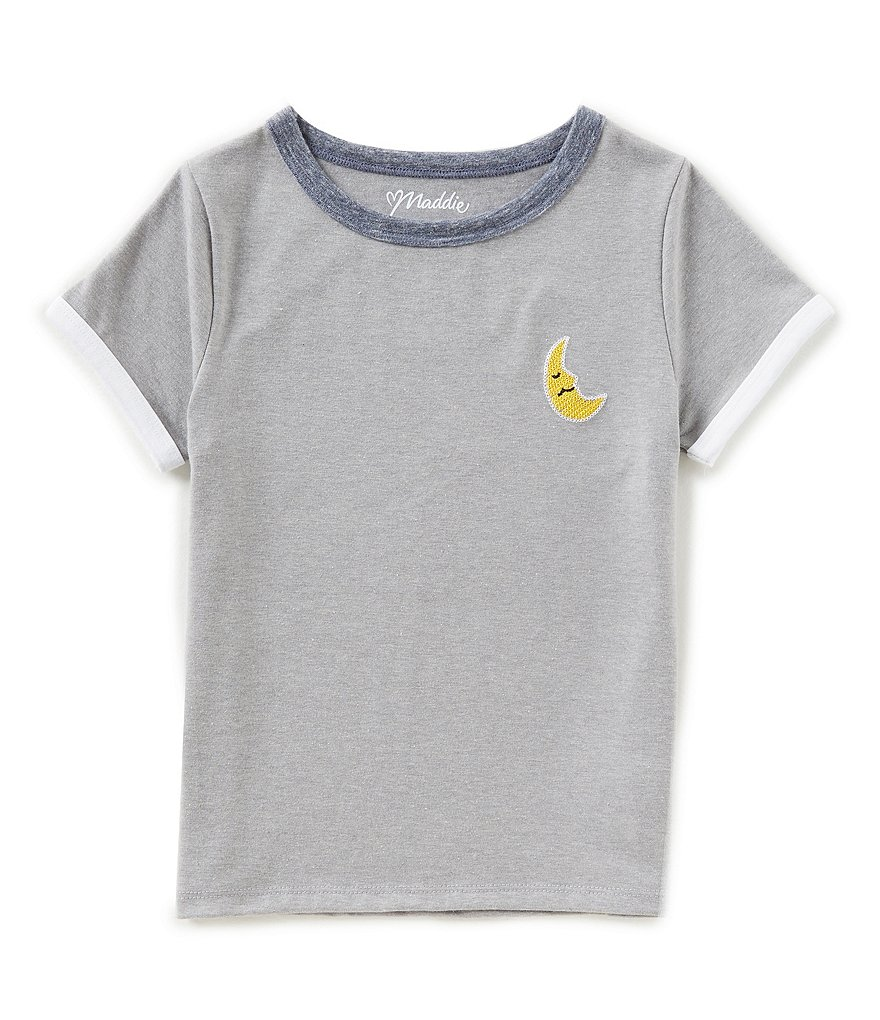 Maddie Big Girls 7-16 Moon Embroidered Short-Sleeve Tee