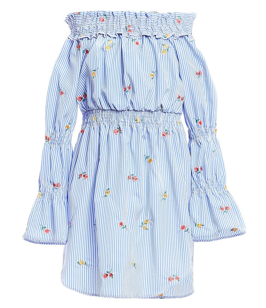 Maddie Big Girls 7-16 Off-The-Shoulder Striped/Embroidered Dress