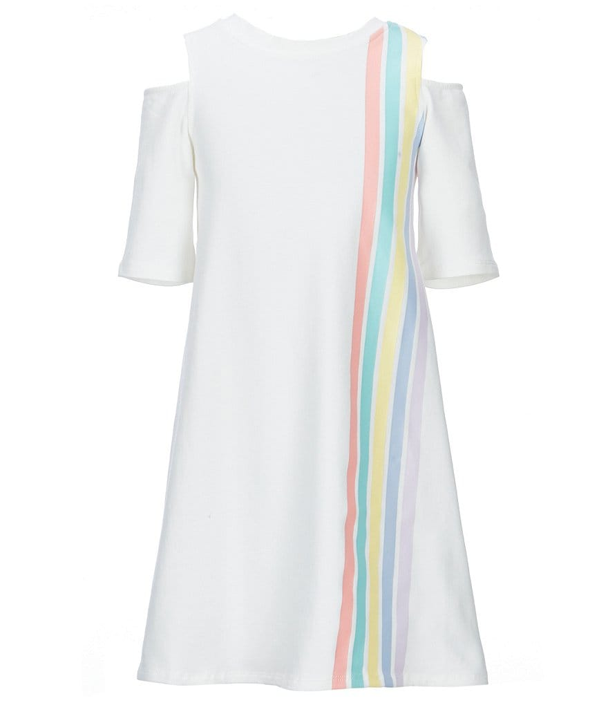 Maddie Big Girls 7-16 Rainbow-Stripe T-Shirt Dress