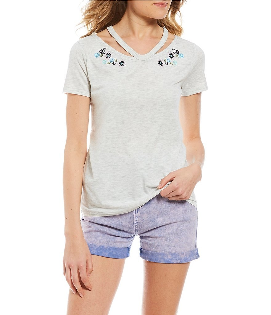 Maddie Short-Sleeve Cutout-Detailed T-Shirt