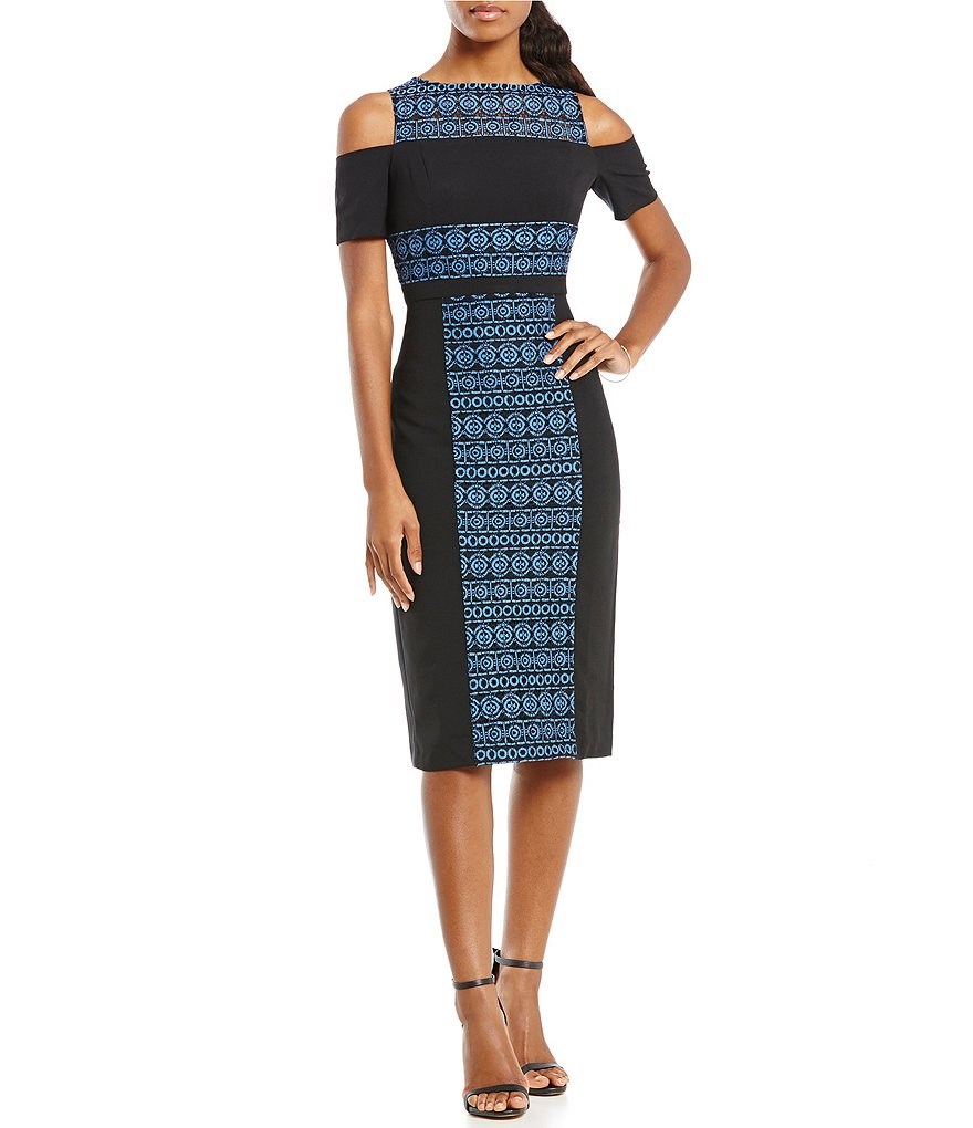 Maggy London Cold Shoulder Lace Sheath Midi Dress