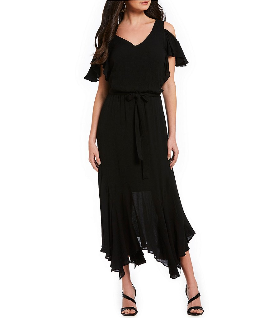 Maggy London Cold-Shoulder Ruffle Blouson Midi Dress
