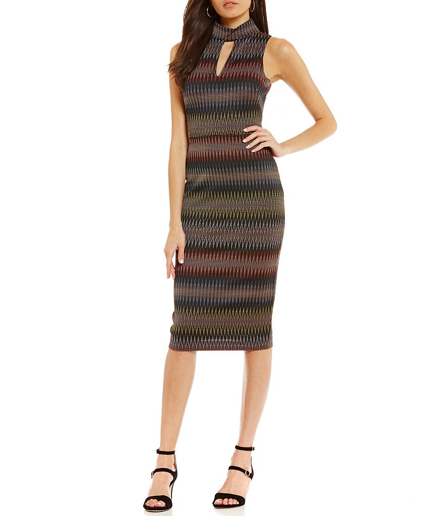 Maggy London Mock Cut Out Neck Printed Sheath Dress