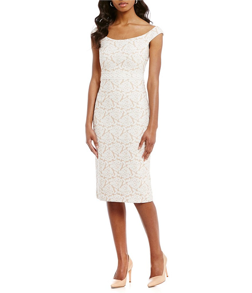 Maggy London Natural Bloom Jacquard Sheath Dress