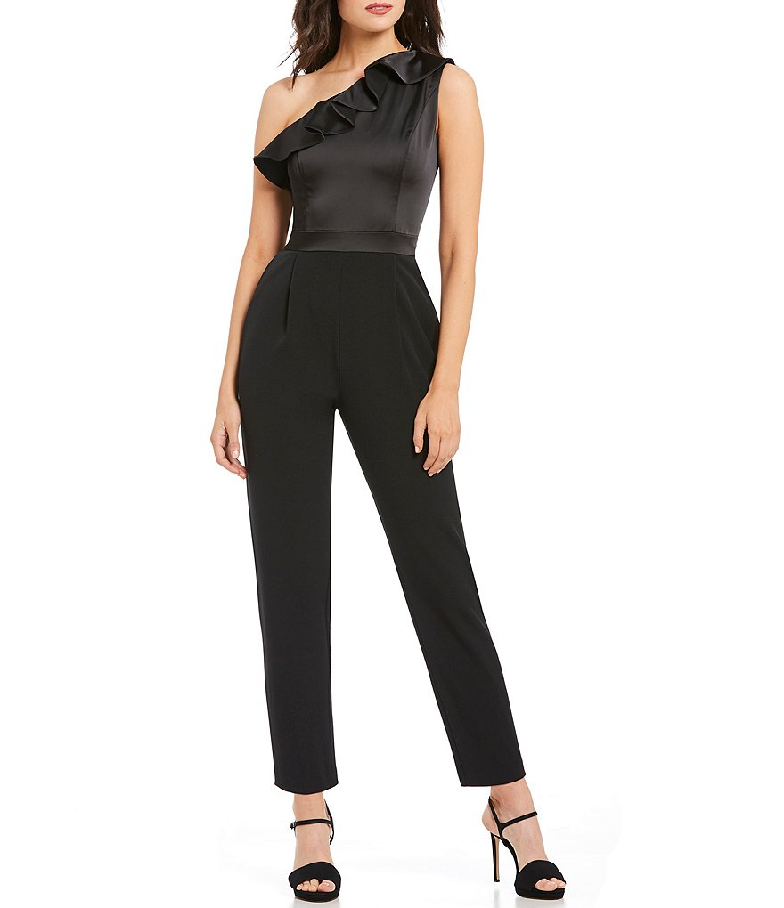 Maggy London One Shoulder Ruffle Jumpsuit
