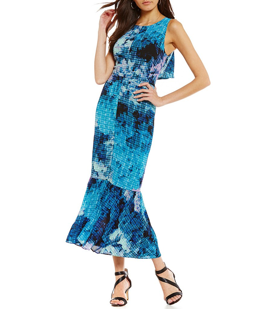 Maggy London Printed Flounce Cut Out Back Maxi Dress