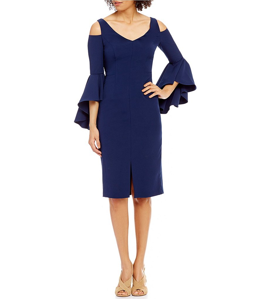 Maggy London V-Neck Cold-Shoulder Flutter Sleeve Sheath Dress