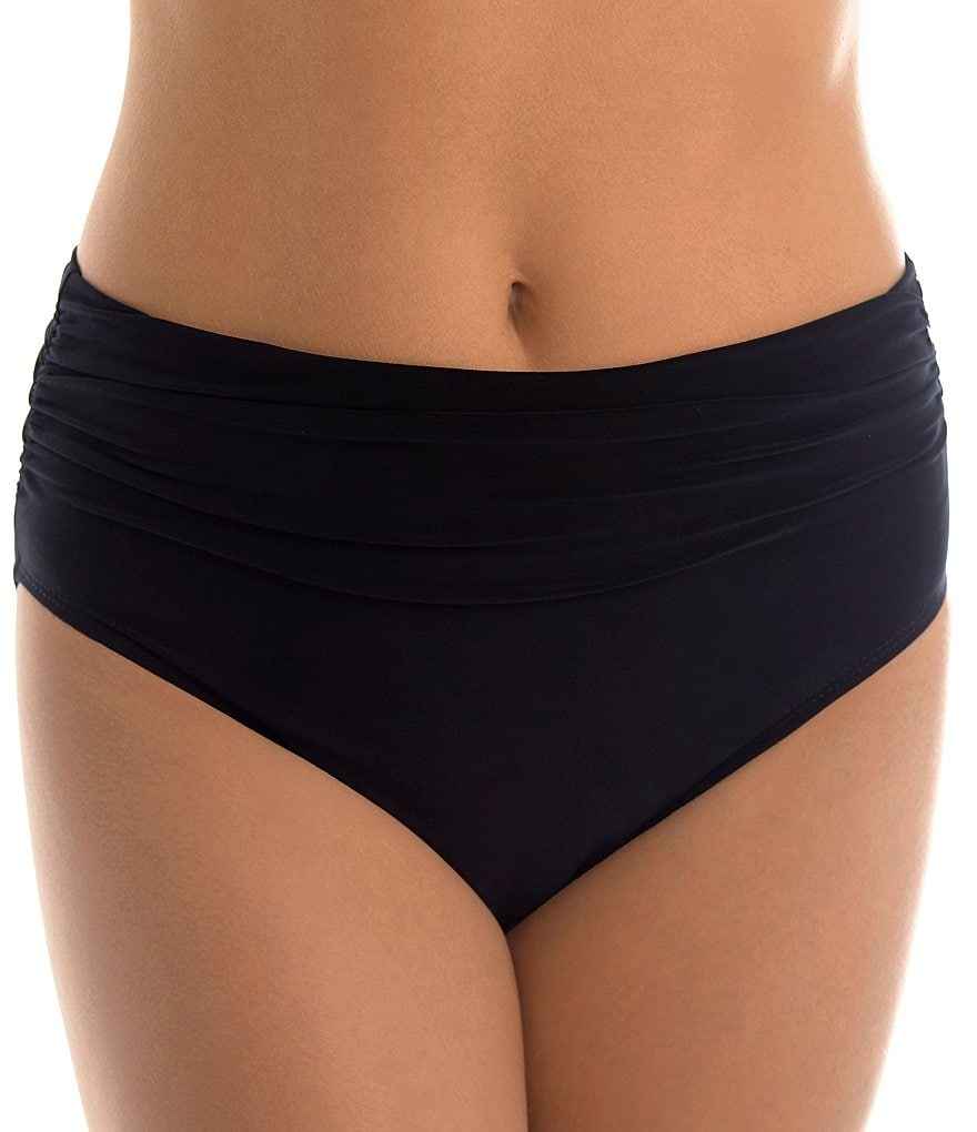 Magicsuit Solid Jersey Brief Shirred Swimsuit Bottom