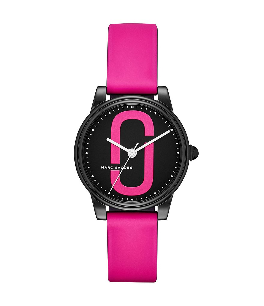 Marc Jacobs Corie Black Stainless Steel and Pink Silicone Analog Watch