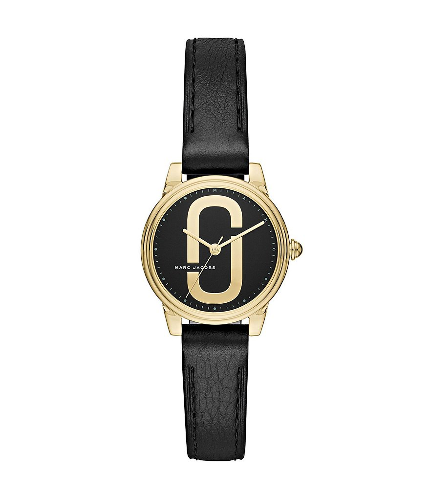 Marc Jacobs Corie Gold-Tone and Black Leather Analog Watch
