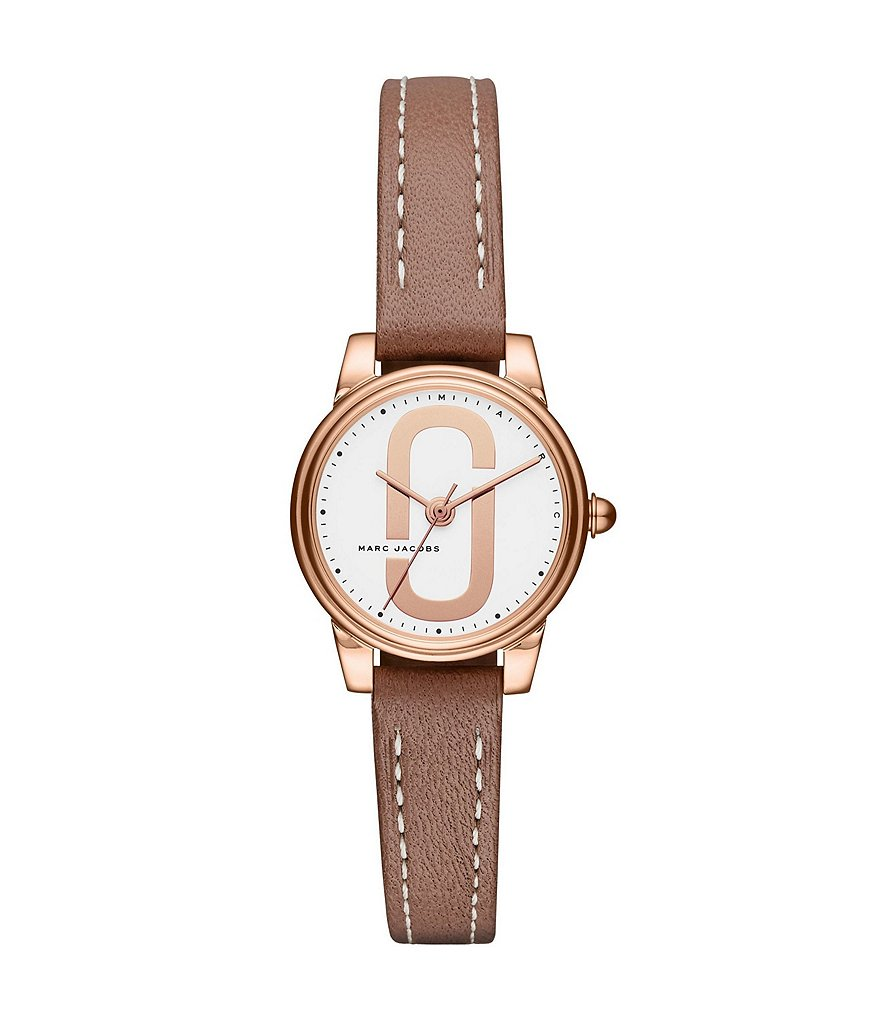 Marc Jacobs Corie Rose Gold-Tone and Cement Leather Analog Watch