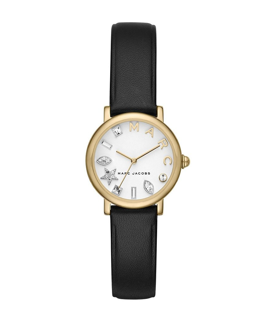 Marc Jacobs Crystal-Index Analog Leather-Strap Watch