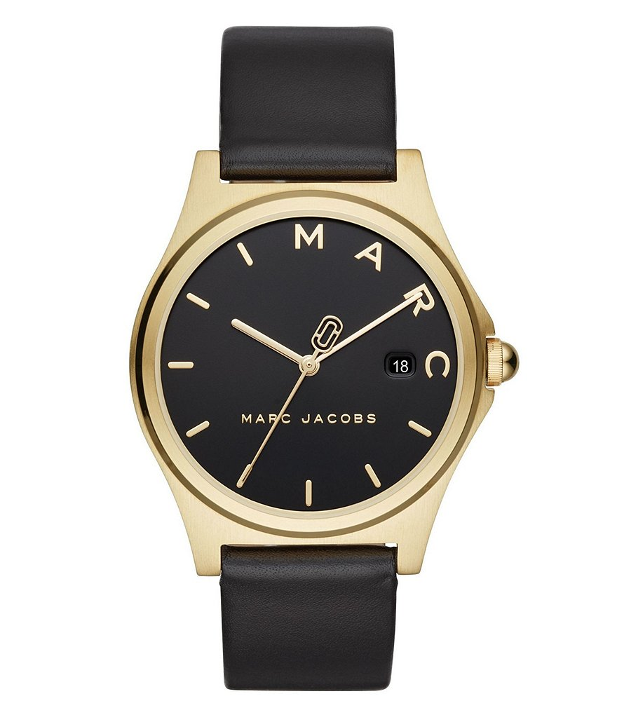 Marc Jacobs Henry Gold-Tone and Black Leather Watch