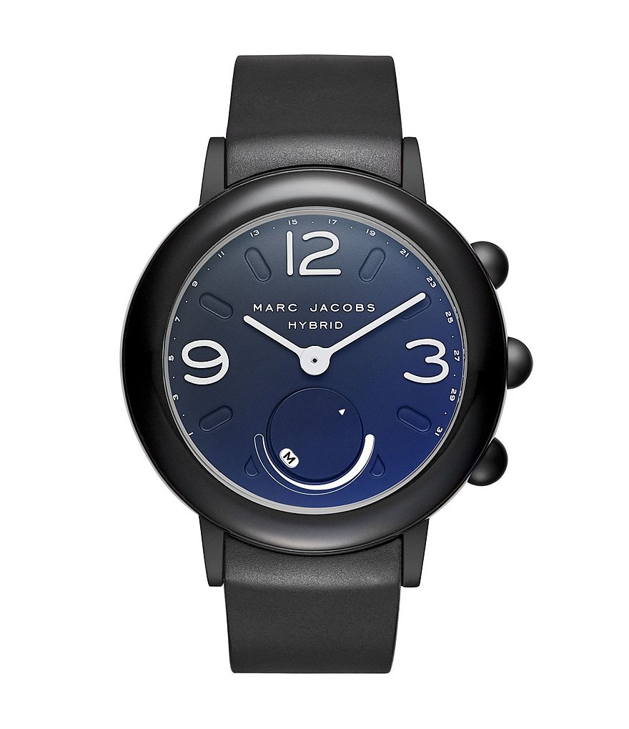 Marc Jacobs Riley Black IP Stainless Steel and Black Rubber Hybrid Smartwatch